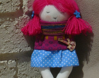 Rag Doll, Sock Doll, OOAK Rag Doll, Cloth Doll, Art Doll, Soft Doll, Cotton Doll Toy