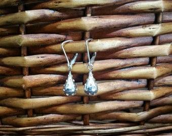 Rhinestone and Sterling Silver Teardrop Earrings