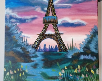 Pink Sky Eiffel Tower