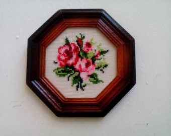 Quadetto hand embroidered cross stitch. Embroidered picture.
