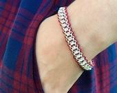 Burgundy and Silver Rhinestone Bracelet, Maroon, Chainlink, Crystal, Woven, Galaxy Bracelet