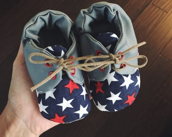 CLEARANCE M & O Shoes - Patriotic / 4th of July baby shoes / Patriotic baby shoes / soft shoes / baby shoes / red white and blue baby shoes
