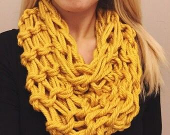 Loose Knit Infinity Scarf - Mustard