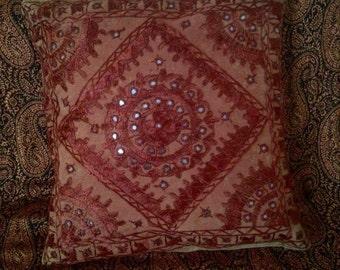 Red/brown/rust ethnic cushion cover
