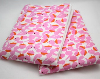 SQUIRRELS Baby BURP CLOTHS - Set of 2 - Cute Pink Squirrels Print