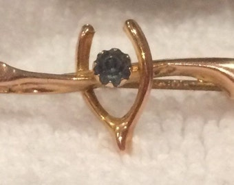 Beautiful Antique VICTORIAN 9ct GOLD SWEETHEART Brooch-With a Lovely Blue Stone in the Centre of a Sweet Wish Bone-Stamped 9ct