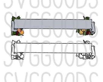 Banner dxf, Wedding dxf, Page decoration dxf, fruit dxf, Wedding Banner dxf, Party dxf, banner clipart, layered cut file, commercial dxf