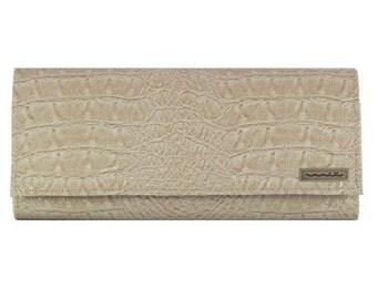 Clutch, faux leather, snakeskin, light salmon, summer bag, evening bag