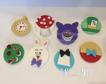 Alice In Wonderland Fondant Cupcake Toppers