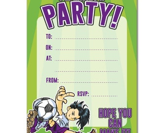 16 A6 Girls Football Theme Birthday Invitations - With or Without Envelopes