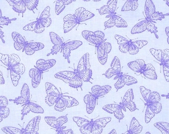Butterfly Botanical Fabric Blue Butterflies Tone on Tone Fabric Henry Glass Jane Shasky 1/2 Yard Increments