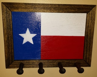 Wall mount key holder, key rack, gift, rustic key holder, custom design, Texas Flag. Texas, gift