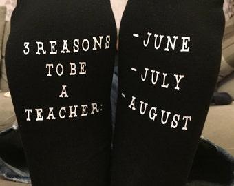 Teachers Socks - Personalised Teachers Gift, June, July, August, Teacher Thank you gift