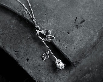 Rose and Dewdrop Necklace. Floral Sterling Silver Necklace. Polished Silver. Gift for her. Everyday Wear.