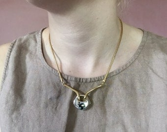 SALE...silver and gold two tone geometric necklace