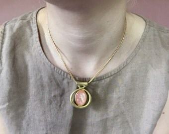 CLEARANCE...coral pink geometric pendant necklace