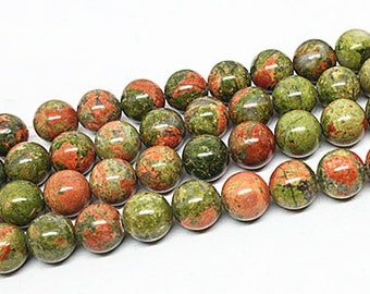 Natural Unakite, Unakite Beads, Round Beads, Jade Beads, DIY Jewelry, Semi Precious Stones, 4 6 8 10mm, (OB014)