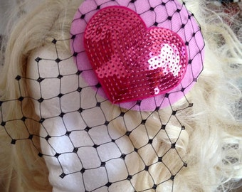 Pillbox Hat Fascinator Veil Voilette Pink Heart Flowers  Millinery Bibi Wool Felt Fifties