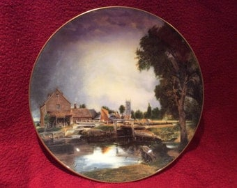 Crown Staffordshire John Constable Dedham Lock And Mill Plate