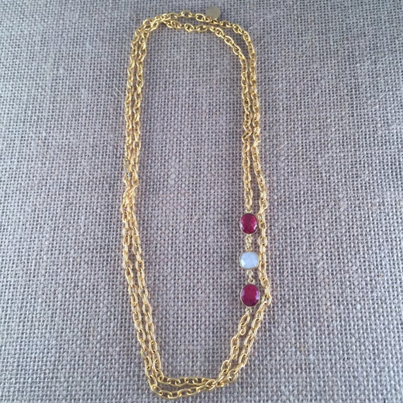 """Ruby & Baroque Freashwater Pearl Gemstone Link Chain Necklace - 22K gold plated - 42"""" long - Double Wrap - Long - GRANADA I"""