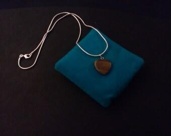 925 Sterling Silver Tiger's eye heart shaped pendant