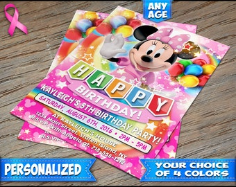 Minnie Mouse Birthday Invitation Pink - Personalized Digital File or Printed on Heavy Stock with Free Envelopes - Minnie Mouse Invitations