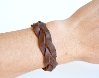 Women's Braided Leather Cuff:  Genuine Leather Milk Chocolate Brown Magic Braided Leather Bracelet