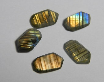 Natural Labradorite Gemstone Faceted Loose Cabochon Fancy Shape Multy Power Flash  Size : 10X18 MM Approx Best Quality On Wholesale Price.