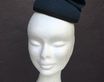 Blue felt button hat