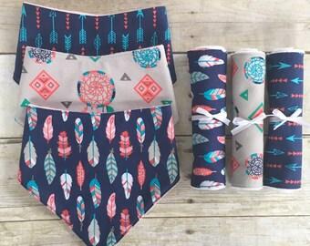 Baby Girl Boho Baby Shower Gift Set, Boho Drool Bibs, Boho Burp Cloths, Boho Baby Gift, Boho Bib and Burp Cloth Set, Newborn Baby Girl Gift