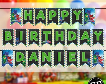 Owlette- Catbot- Gekko PJ MASKS Happy Birthday Banner // Party Banner Owlette Catbot- Gekko