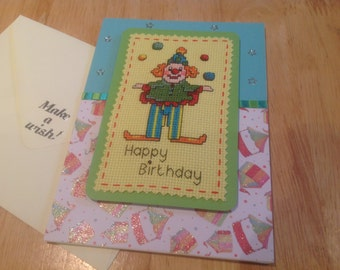 Completed cross stitch happy birthday card