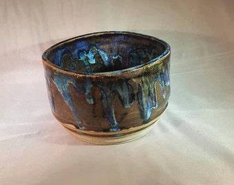 Metallic Blue Ceramic Bowl