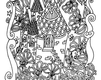 Fairy Castle, 1 Adult Coloring Book Page, Printable Instant Download