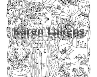 Happyville Outhouse , 1 Adult Coloring Book Pages, Printable Instant Download