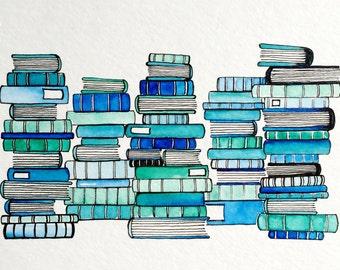 Original Watercolor Painting: Blue Books
