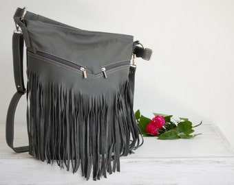 Leather Fringe Hobo Bag, Fringe Bag, Bag with Tassels, Large Cross Body Bag, Leather Handbag, Purse, Large Tote, Gray Leather Hobo Bag, Boho