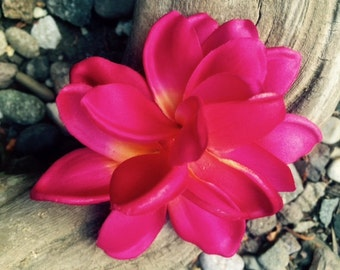Tropical flower fuschia plumeria hair clip