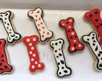 Sugar cookies, Dog bone shaped, dalmatian, with royal icing