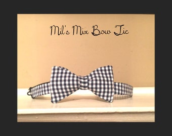 Bow tie, Handmade, Blue and White Checker