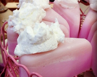 Cake Slice shampoo & soap bar, with whipped soap frosting!
