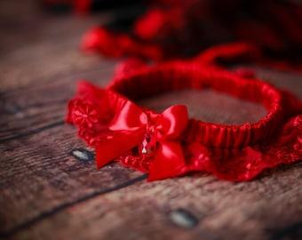 red lingerie, red wedding garter, red bridal garter, red lace garter, red garter, red wedding, red silk bridal garter, red plus size garter