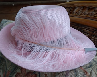 Fun Pink Fedora Hat with Feather