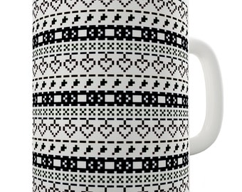 Pixel Ugly Sweater Print Ceramic Novelty Gift Mug