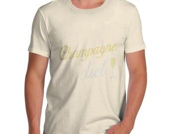 Men's Champagne Diet Rhinestone Diamante T-Shirt