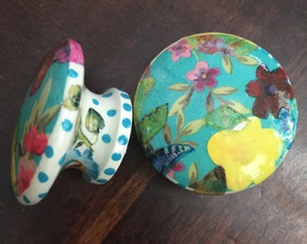 1.5 inch cabinet knobs, drawer pulls, dishes inspired, floral, polka dots,  teal, yellow, pink, aqua, red, green, blue