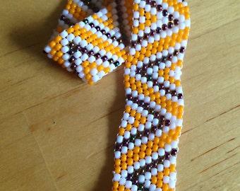 Yellow White Purple Zigzag Peyote Stitch Bracelet