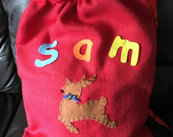Personalised Christmas Sacks, Traditional, Handmade, Present Sack, Hessian Sack,  Bespoke, Medium or Large size available, Fully Lined
