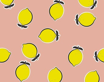 Lemons in Pink || Kate Blocher (See Kate Sew) for Riley Blake  || Half or One Yard || Cotton Woven