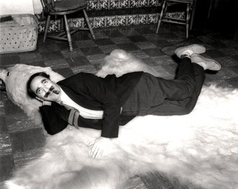 Groucho Marx Relaxes on a Bear Skin Rug - 5X7, 8X10 or 11X14 Publicity Photo (EP-536)
